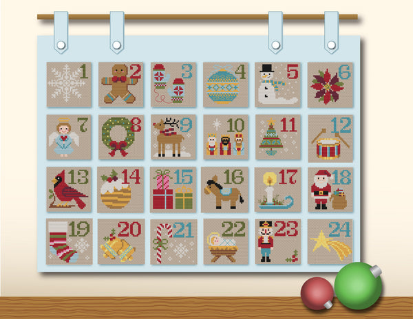 Christmas Advent Calendar Cross Stitch PDF Pattern