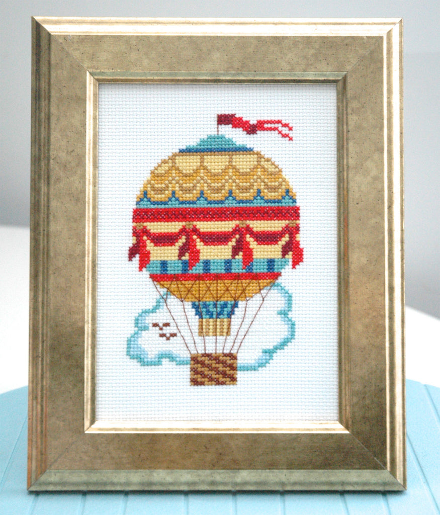Vintage Air Balloon Cross Stitch Pattern Instant Download