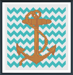 Anchor with Chevron Cross Stitch Pattern Instant Download