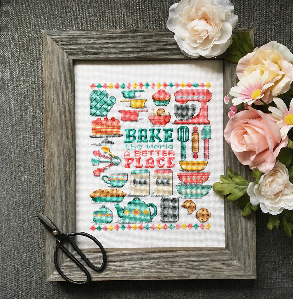 Modern Cross Stitch - Bake the World a Better Place Cross Stitch Pattern Instant Download