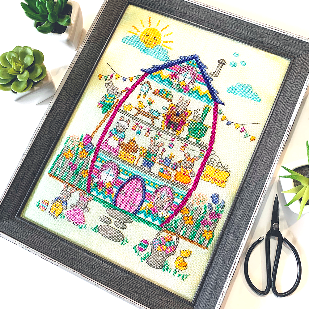Modern Cross Stitch - Easter Bunny House - 2019 Tiny Modernist SAL