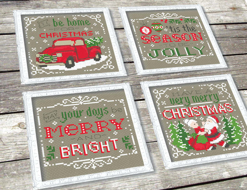 Vintage Christmas Signs Cross Stitch Pattern