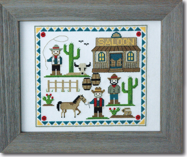 Cute Cowboys Cross Stitch Pattern PDF Instant Download