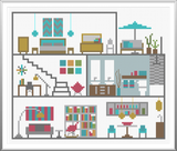 Modern Dollhouse Cross Stitch Pattern Instant Download