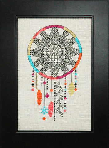 Blackwork Dream Catcher Cross Stitch Pattern Instant Download