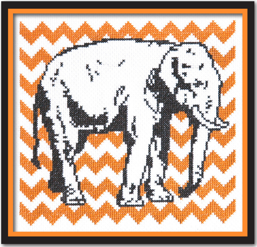 Elephant with Orange Chevron Cross Stitch Pattern Instant Download