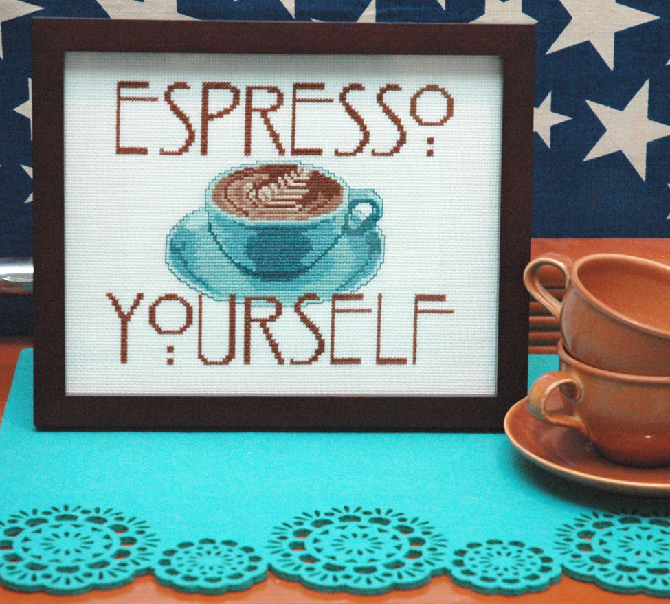 Espresso Quote Cross Stitch Pattern - PDF Instant Download