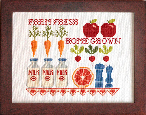 Farm Fresh Milk Bottles Cross Stitch Pattern Instant Download