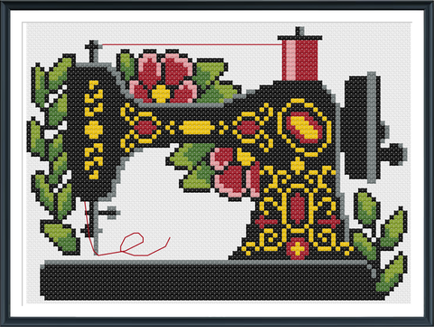 Retro Sewing Machine Cross Stitch Pattern Instant Download