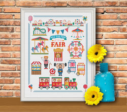Modern Cross Stitch - Fun at the Fair Cross Stitch Pattern - Instant Download