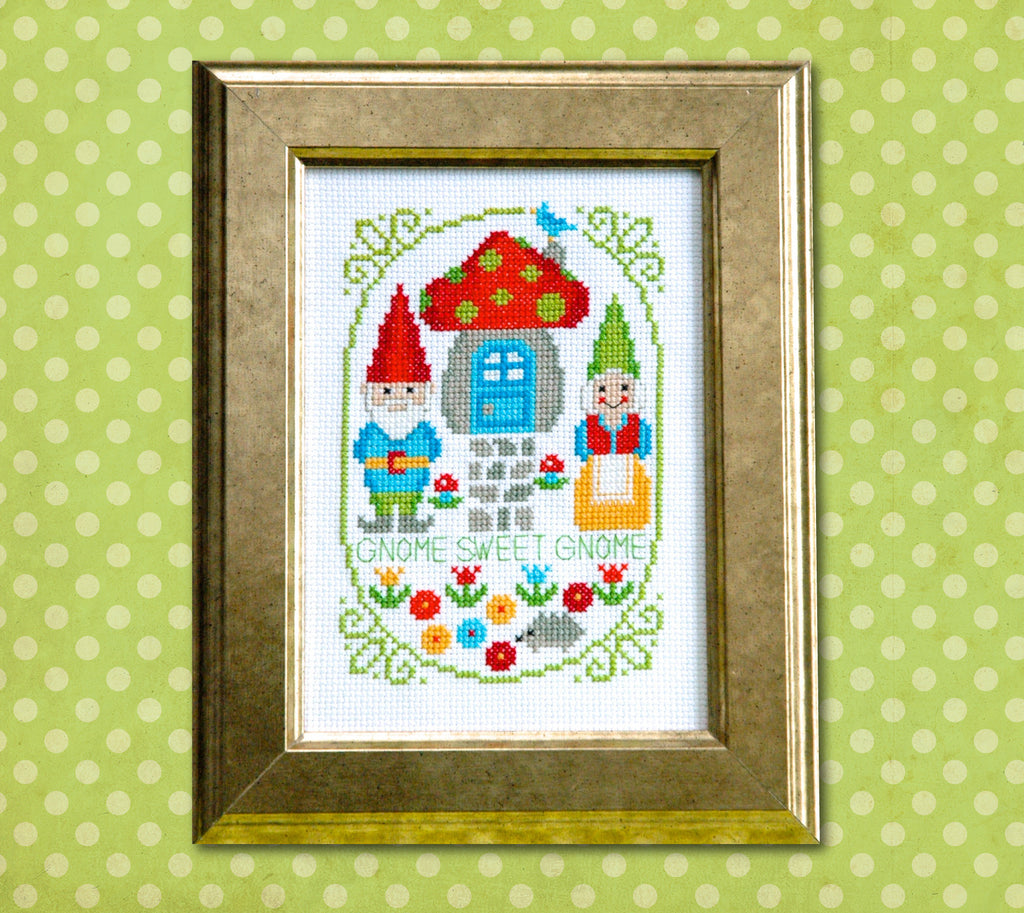 Gnome Sweet Gnome Cross Stitch Pattern - PDF Instant Download