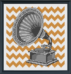 Gramophone Cross Stitch Pattern PDF Instant Download