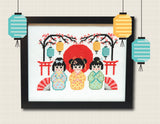 3 Little Kokeshi Dolls Cross Stitch Pattern Instant Download