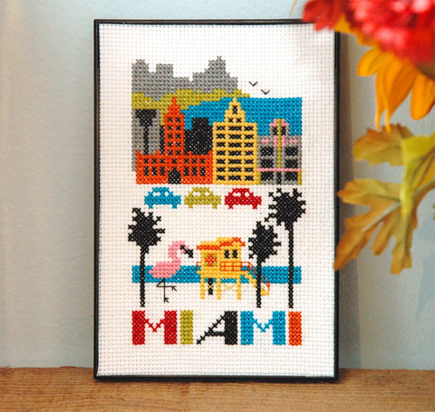 Miami Cross Stitch Pattern Instant Download