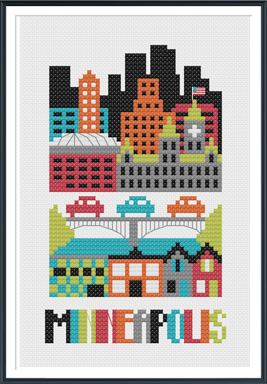 Minneapolis Minnesota Cross Stitch Pattern Instant Download