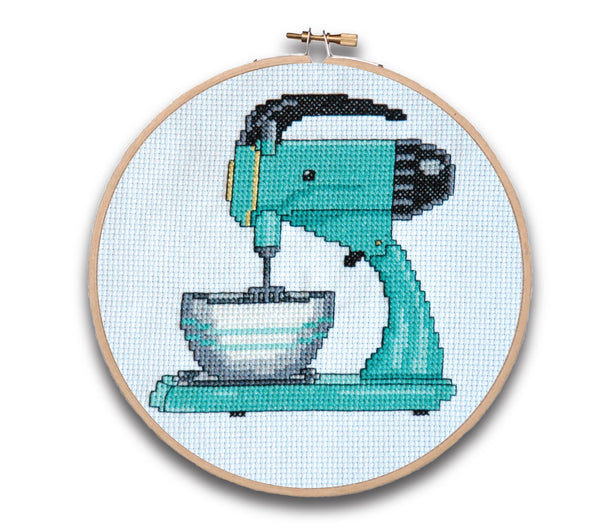 Retro Kitchen Mixer Cross Stitch Pattern Instant Download
