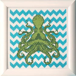 Chevron Octopus Cross Stitch Pattern Instant Download