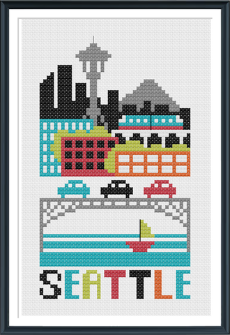 Seattle Cross Stitch Chart Instant Download