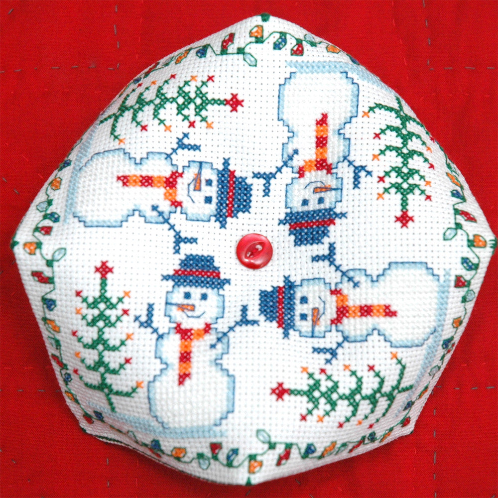 Snowman Biscornu Cross Stitch Pattern Instant Download