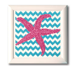 Chevron Starfish Cross Stitch Pattern Instant Download