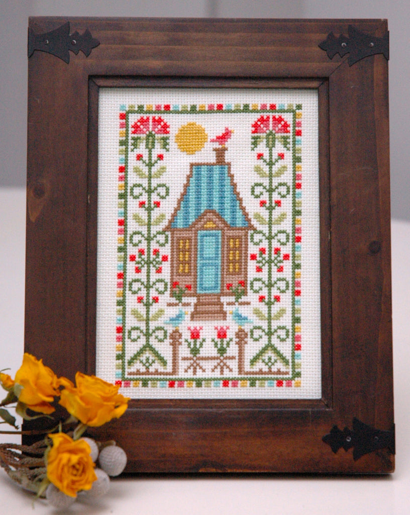 Summer House with Thistles Cross Stitch Pattern Instant Download