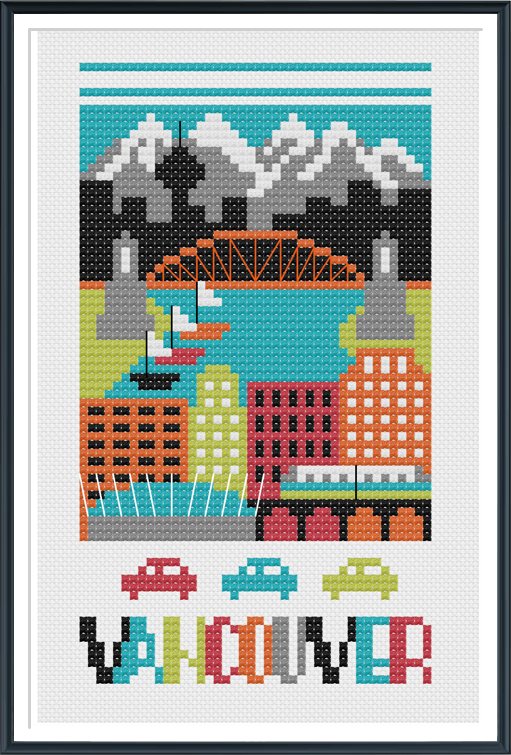 Vancouver Canada Cross Stitch Chart Instant Download