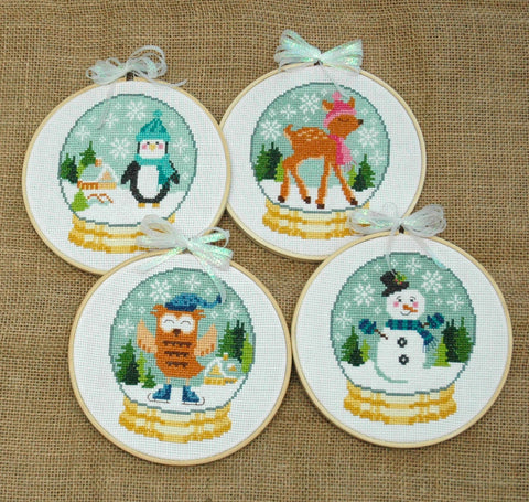Cute Winter Snow Globes Cross Stitch Pattern Instant Download