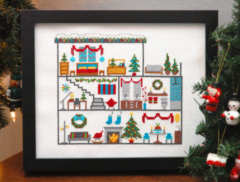Dollhouse Christmas Cross Stitch Pattern Instant Download