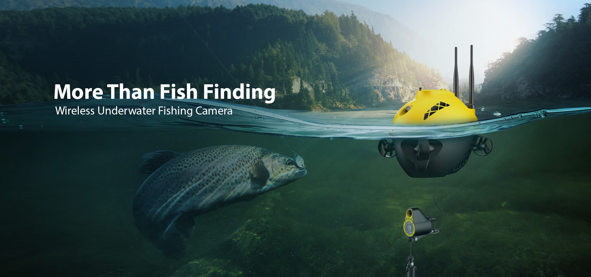 Product Showcase of CHASING F1 Fish finder catching a fish