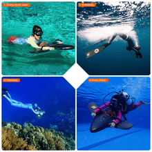 Load image into Gallery viewer, Hoverstar H2 Underwater Scooter collage of uses for gliding above water for snorkeling for freediving for scuba diving