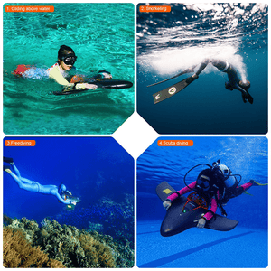 Hoverstar H2 Underwater Scooter collage of uses for gliding above water for snorkeling for freediving for scuba diving