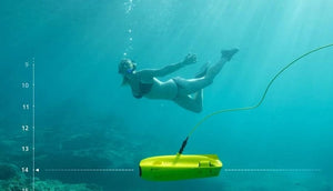 Adult Woman Freediving with CHASING GLADIUS MINI Underwater Drone