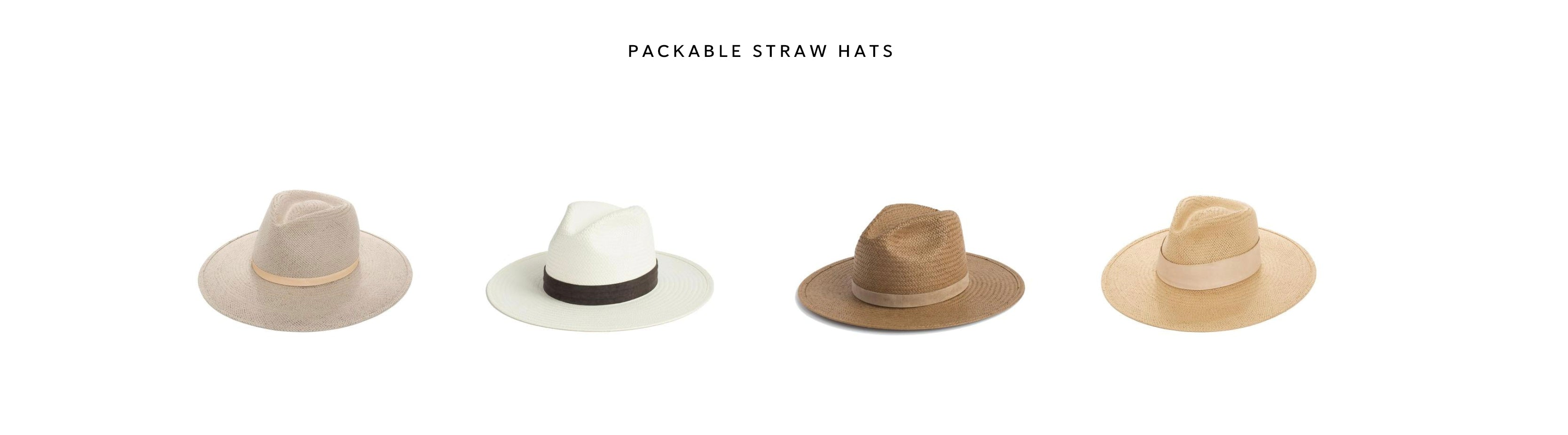 packable straw hats by janessa leone great for traveling. Womens summer hats foldable