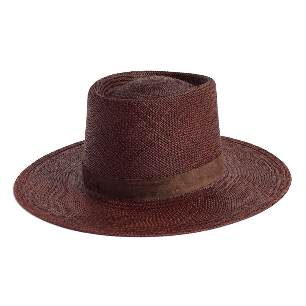 JANESSA LEONE - Panama Straw Boater in Brown - Alessandra