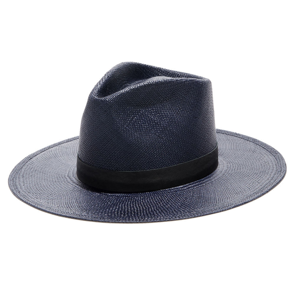 JANESSA LEONE - Panama Straw Tall Crown Fedora in Navy - Aster