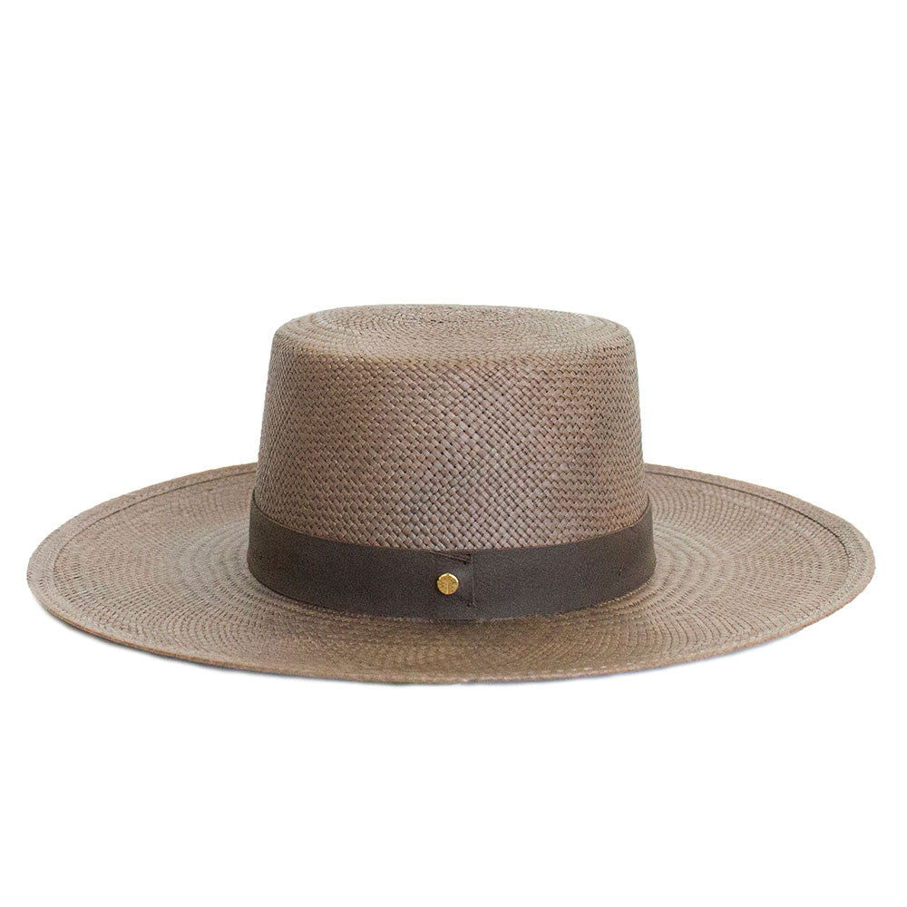 JANESSA LEONE - Panama Straw Boater in Brown - Carolina