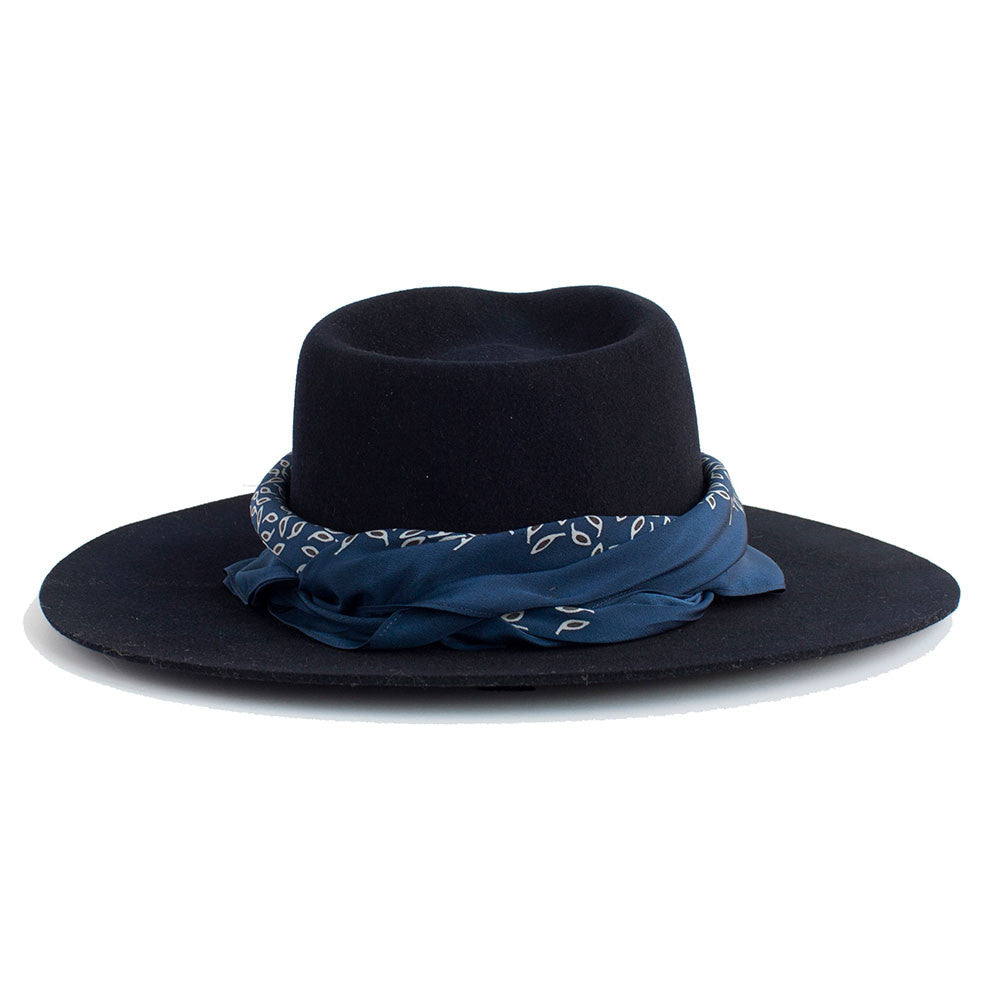 JANESSA LEONE - Stiffened Wool Fedora in Navy - Florence