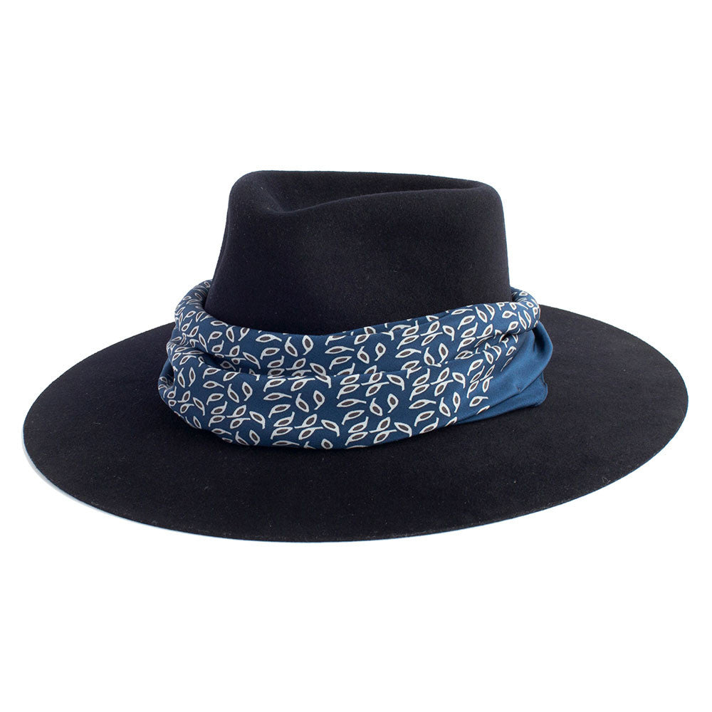 Florence  Florence  JANESSA LEONE - Stiffened Wool Fedora in Navy -  Florence ... fdbb870db36