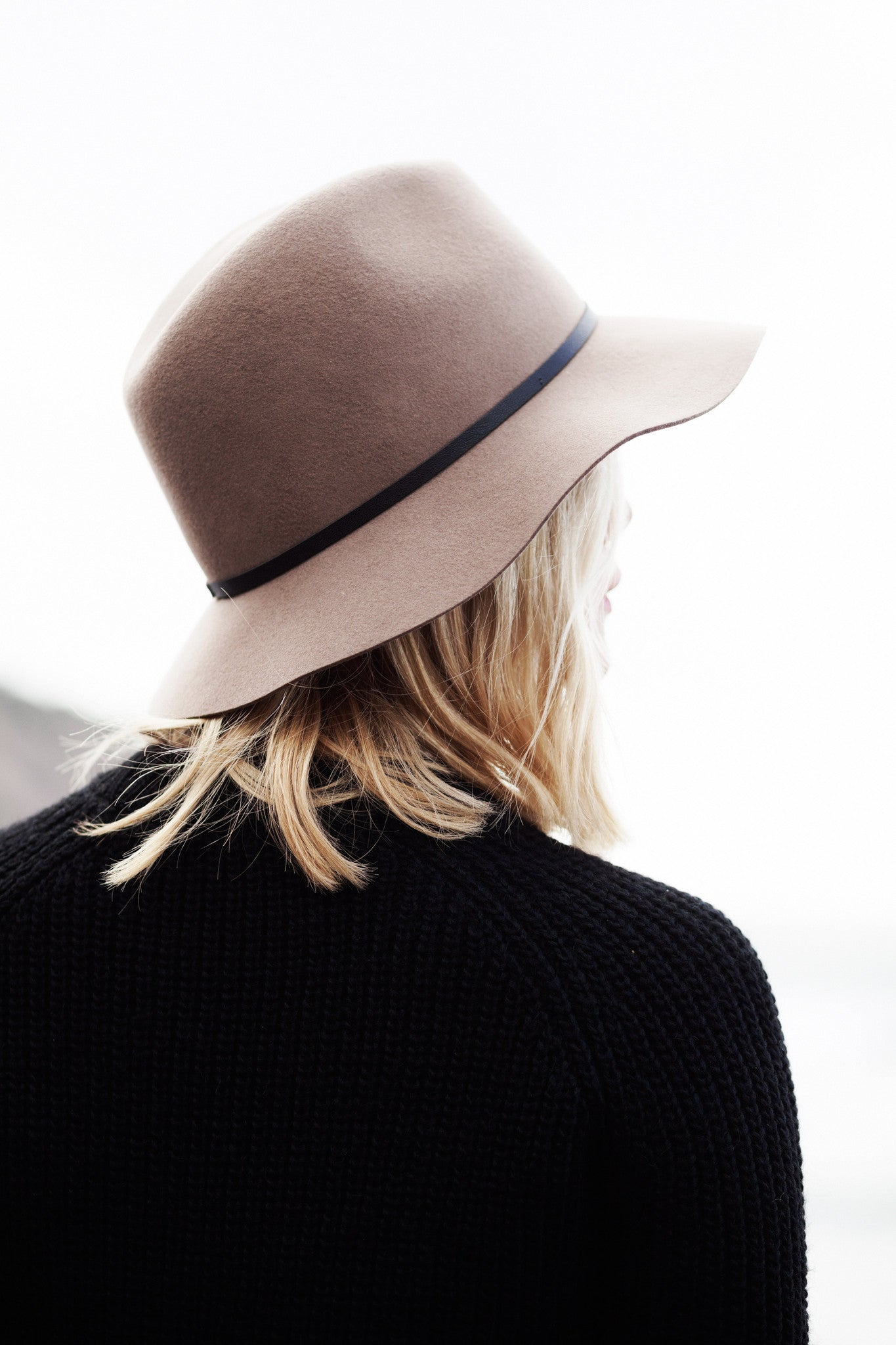 Wool Felt Fedora - Sand - Black Leather - Women's - JANESSA LEONE