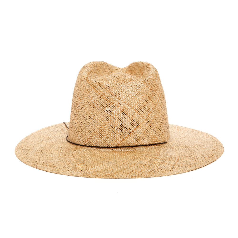 Janessa Leone Summer Women's Hats Summer Spring Hats made for the beach and traveling | wide brimmed fedora hats natural straw natural panama straw hat | Beige Natural fedora with black plated metal brass detail on brim of hat | women's classic fedora hats with long wide brim | Sun protective hat with thick straw weave | Beach travel hat women's hat | unique luxury chic hat with wide brim classic fedora style