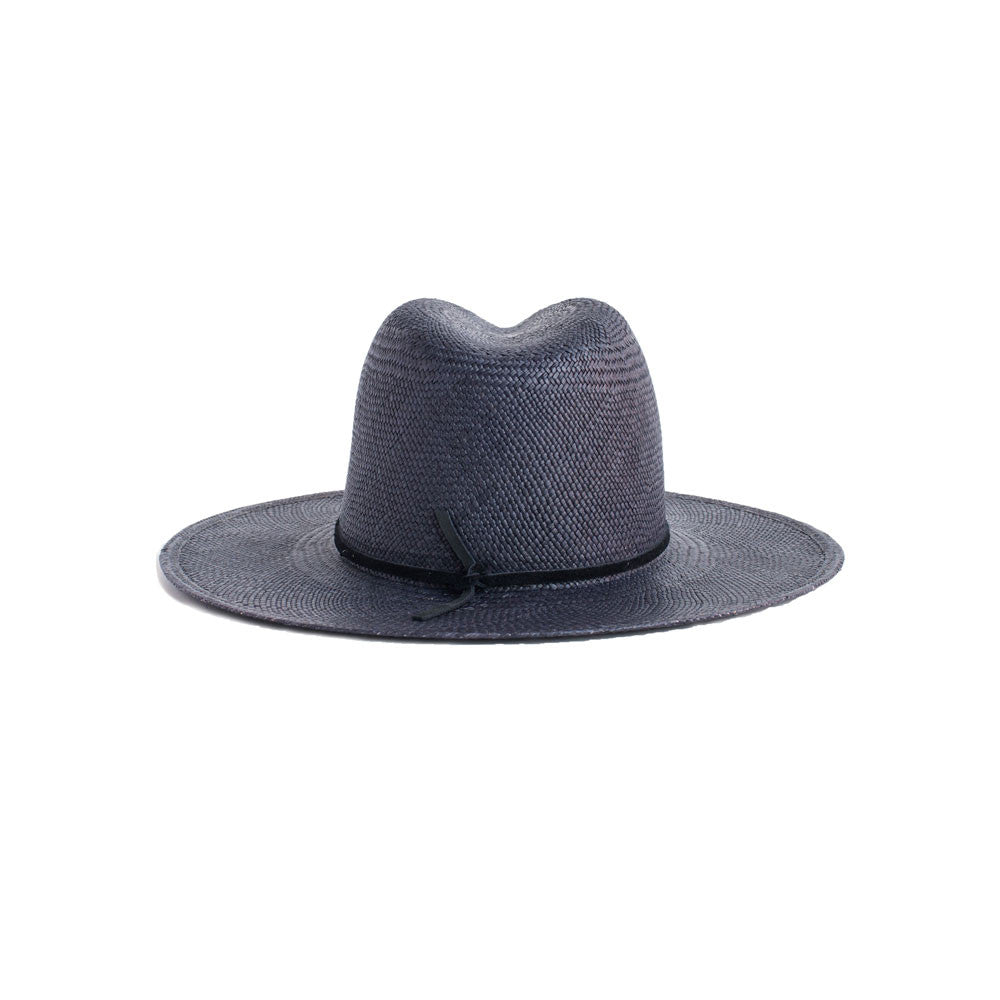 JANESSA LEONE - Panama Straw Fedora in Navy - Morgan
