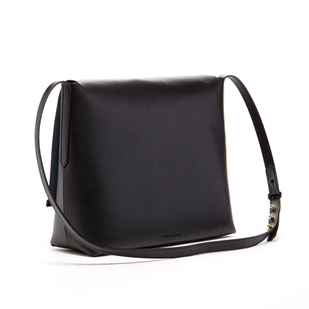 JANESSA LEONE - Leather Messenger Bag in Black - Virginia