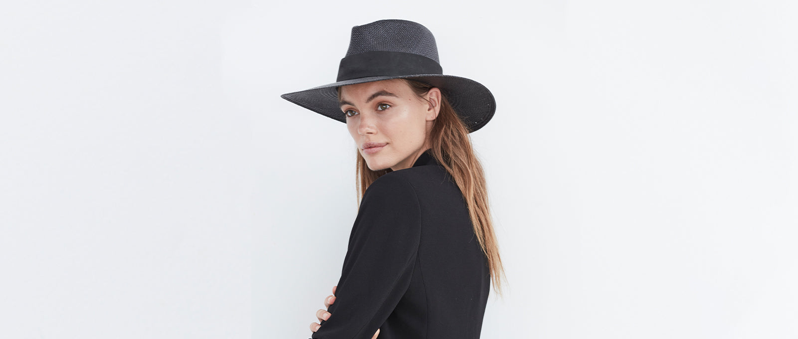 all black womens straw fedora hat with black leather band. Panama straw for highest rated sun protection and great for traveling and summer