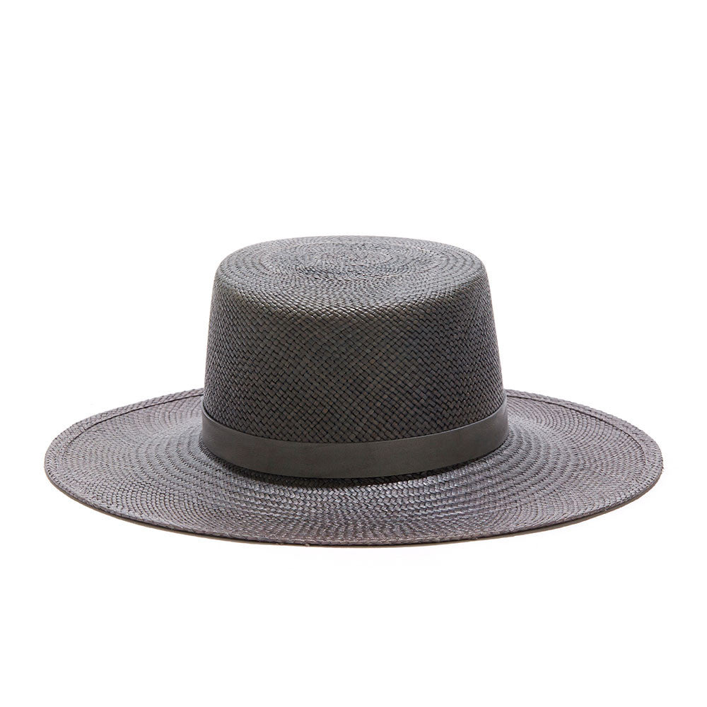 JANESSA LEONE - Panama Straw Boater in Washed Blue - Ren