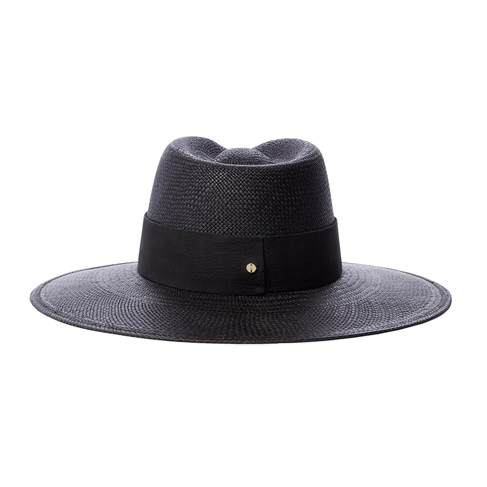 All black modern straw fedora with UPF rating 45+ womens sun hat for summer traveling black leather panama straw by janessa leone