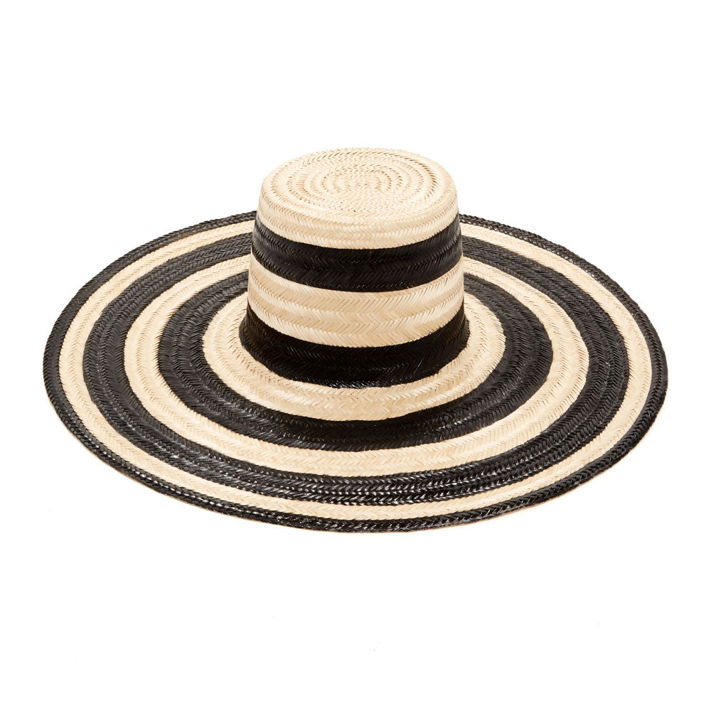 Janessa Leone Summer Women's Hats Summer Spring Hats made for the beach and traveling | Wide brimmed straw hats Striped hat | Boater hats for women | Sun protective hat with thick straw weave | Beach travel hat