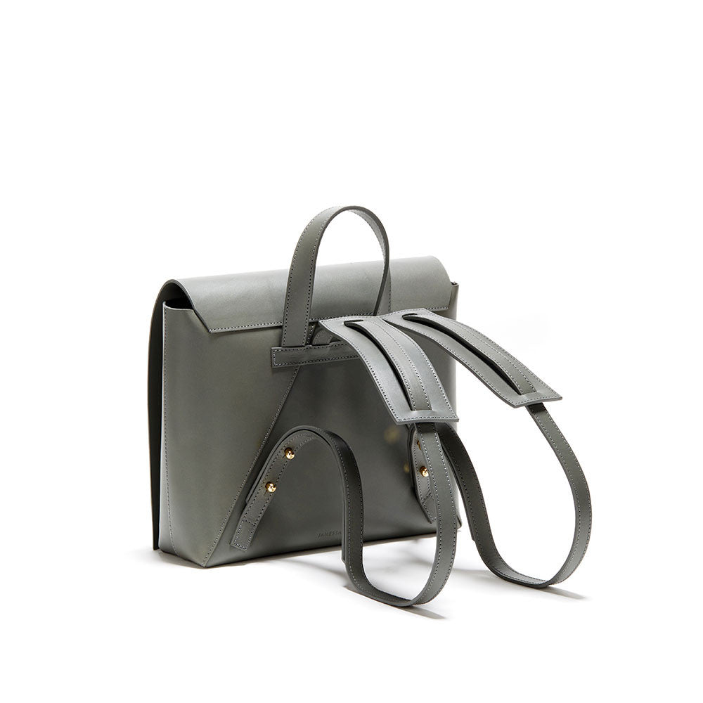 JANESSA LEONE - Grey Leather Backpack - Sylvia