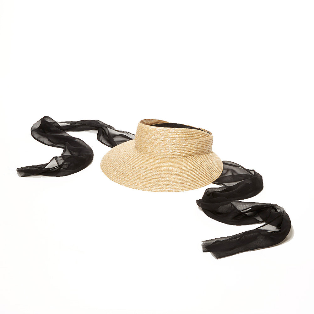 visor with scarves made from silk and chiffon. This visor is timeless design with modern details. The thick braided straw provides the most sun protection of all hats 50+ UPF rating