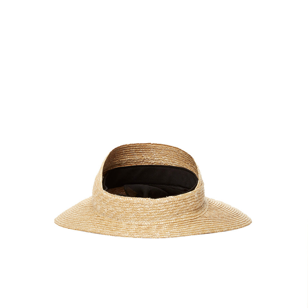 Janessa Leone's unique visor designed with timeless side scarves. The visor is made from a beautiful wheat braided straw that is extremely thick and provides highest rating of sun protection during the summer. This visor can be worn year round.