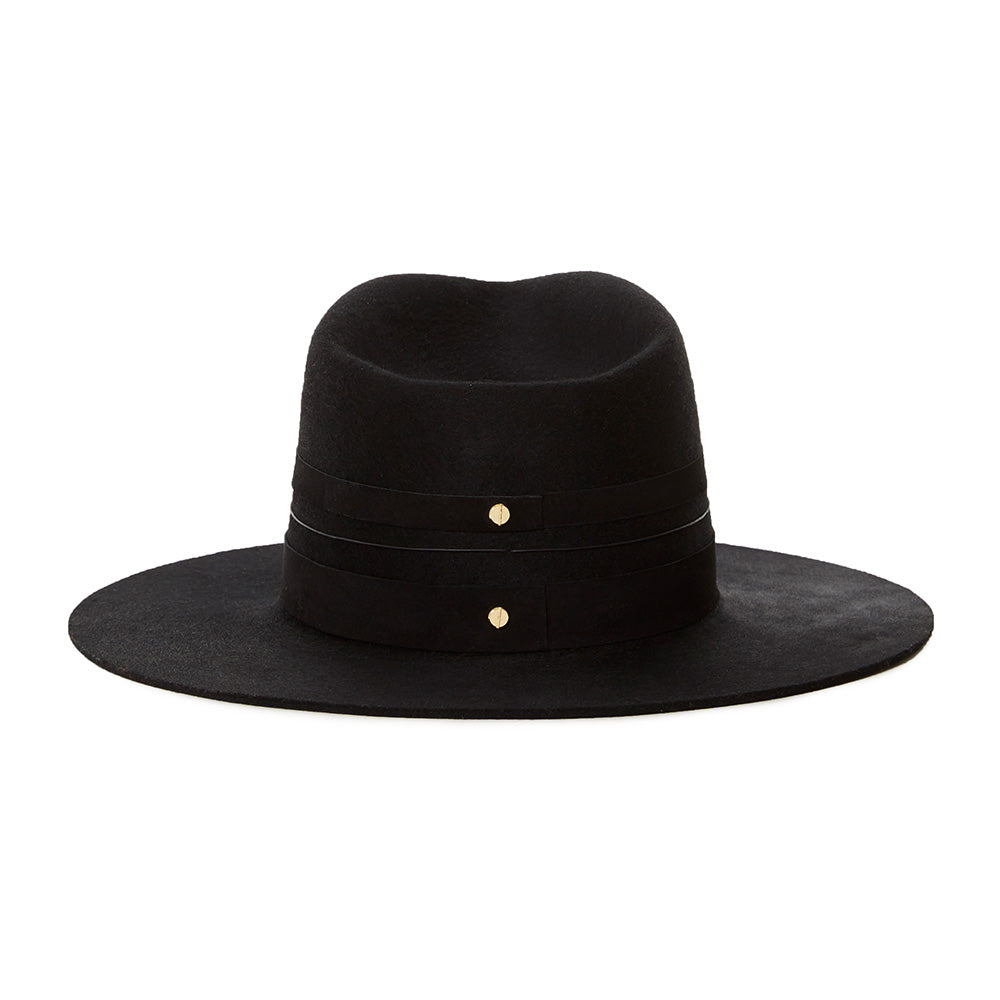 All black wool fedora with black leather straps and leather bands for an elevated look. Classic western fedora wool for winter and fall womens high end luxury hats quality wool and designed by Janessa Leone